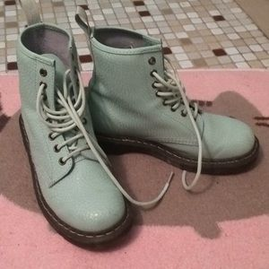 Pearl Green Mint colored Dr Martens, Women's US 8